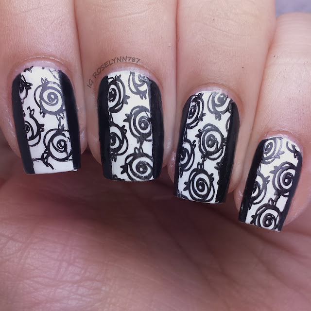 Black and White Rose Stamping