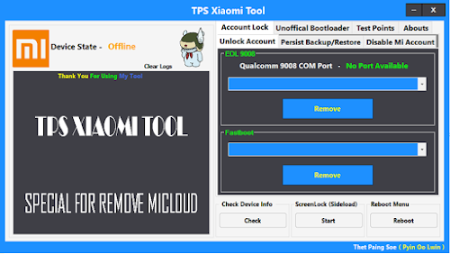 TPS Xiaomi Tool, Special For Remove MiCloud