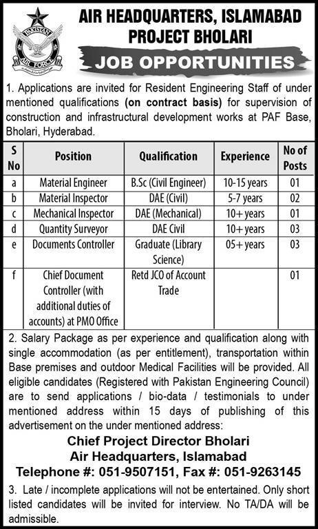 Contract Base Jobs in Air Headquarters Islamabad June 2018 Vacancies Bholari Project