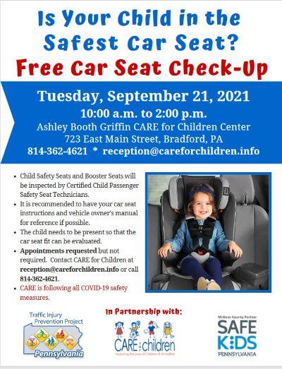 9-21 Free Car Seat Check-Up, Bradford, PA