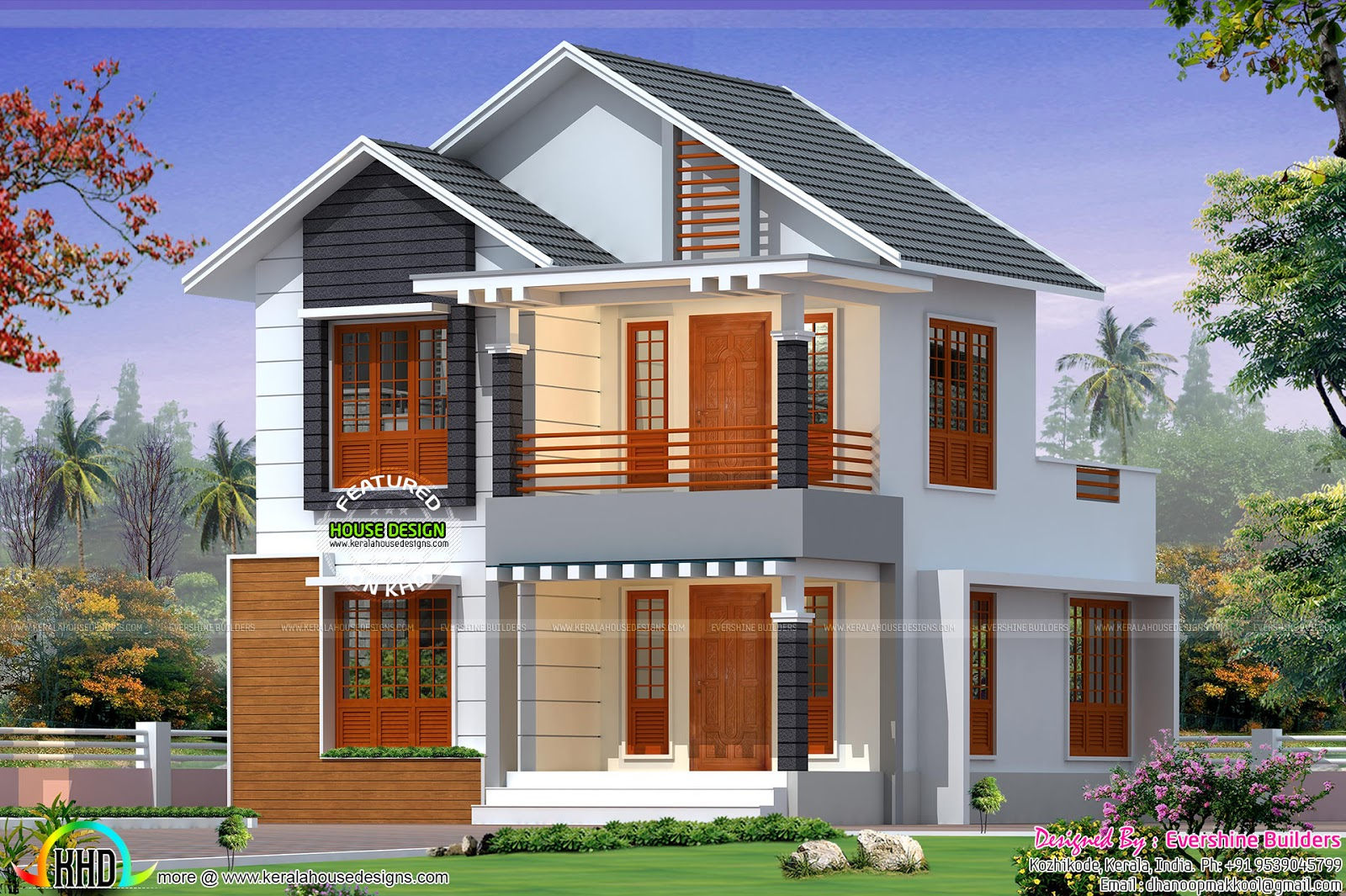 Cute little sloping roof house kerala home design and for Cute house plans