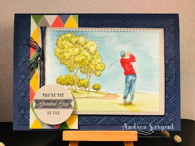 Country Club, Absolutely Argyle, masculine card, Stampin Up, Art with Heart, blog hop, Andrea Sargent, AWHT