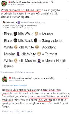 Ramla Akhtar: «Le blanc suprémaciste tue du musulman.»  «Inciter à la violence sur des bases confessionnelles/ethniques est un délit couvert par les lois anti-terroristes. Les créatures suprémacistes blanches au cerveau de boue considère qu'elle peuvent entrer ,dans lemonde des gens de couleurs (POC, People of Color)»