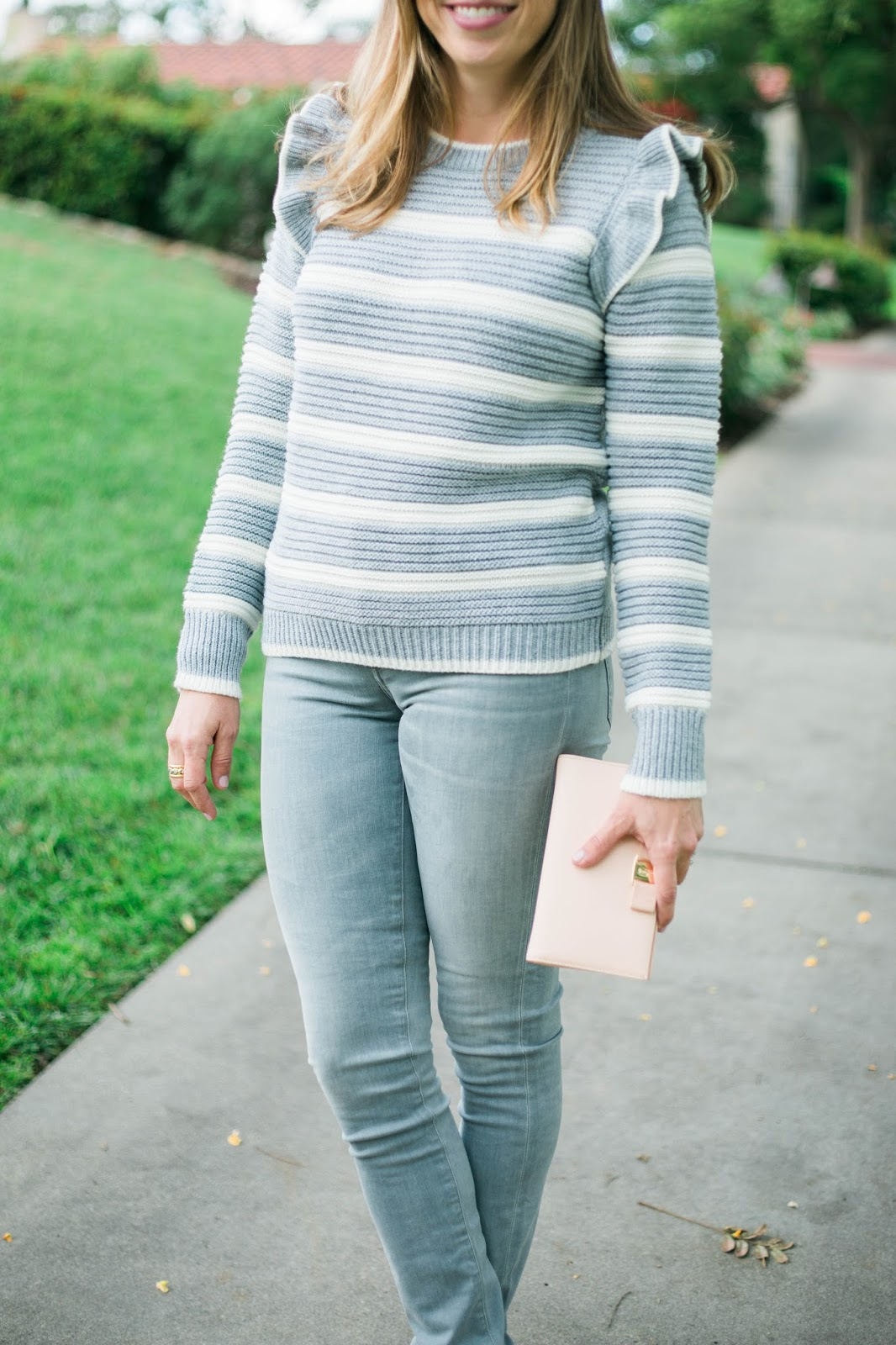 gray striped ruffle sweater