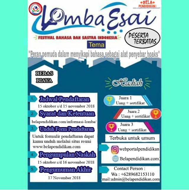 Lomba Esai Festival Bahasa dan Sastra Indonesia 2018