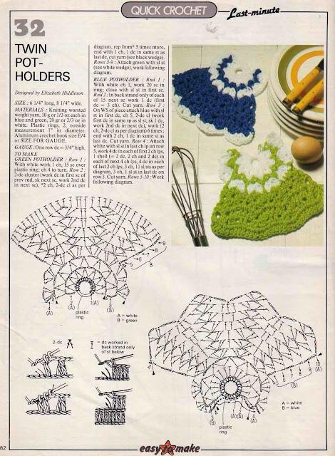 pegador de panelas de crochê com gráfico