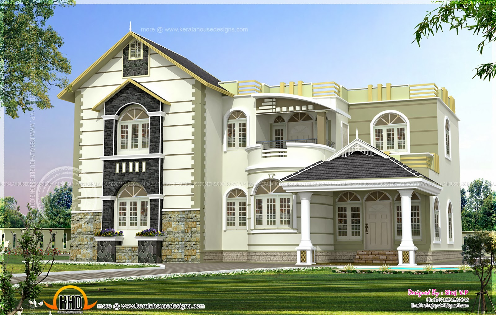 one house exterior design in two color combinations home kerala plans. Black Bedroom Furniture Sets. Home Design Ideas