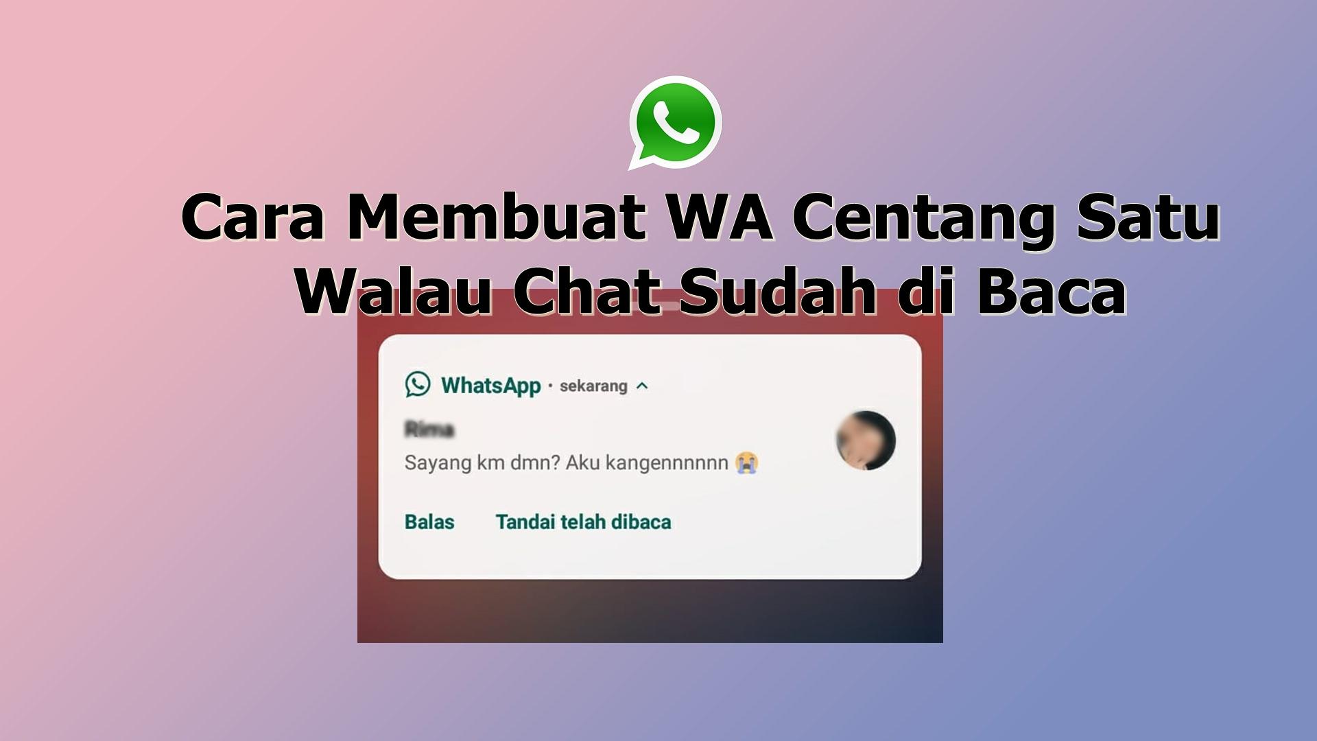 Cara Membuat WA Centang Satu Walau Chat Sudah di Baca