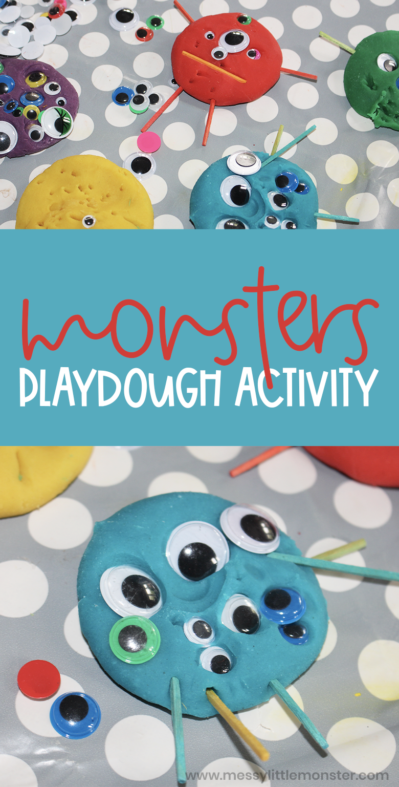 playdough monsters counting activity for toddlers and preschoolers. Easy halloween activity idea.