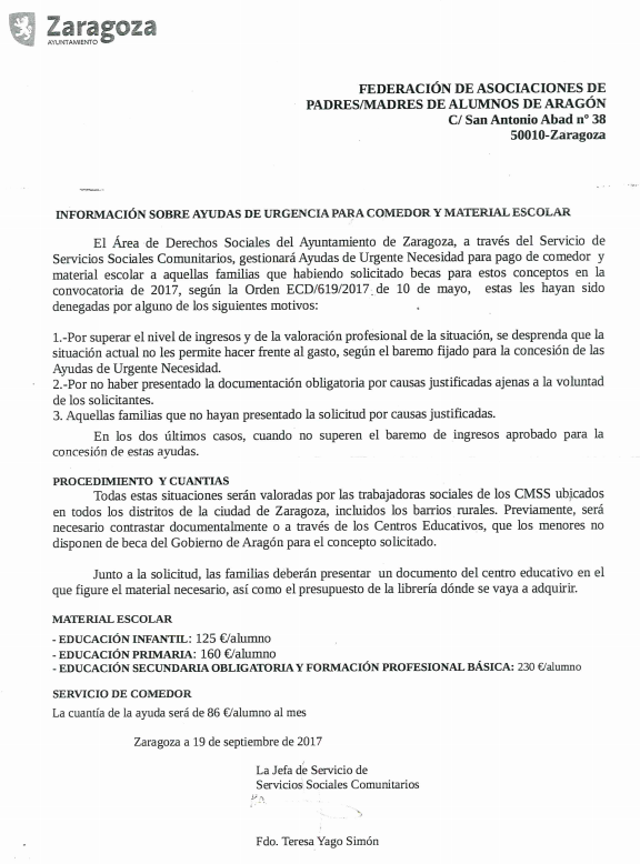 AMPA HERMANOS MARX: AYUDAS DE URGENCIA PARA COMEDOR Y MATERIAL ...