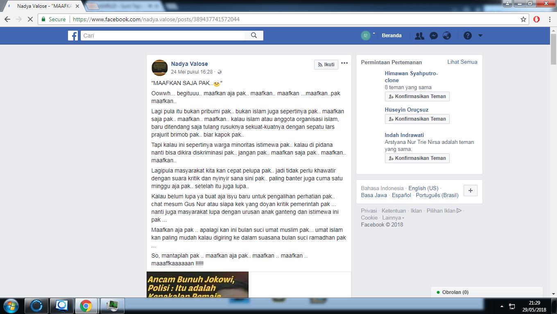 [Disinformasi] Remaja Pengancam Jokowi Dibebaskan