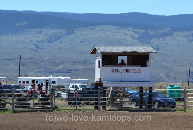 The announcing booth sits above the rodeo ring for a good view