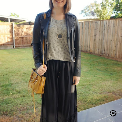 awayfromblue Instagram | leather jacket maxi skirt and yellow bag way to wear grey leopard print tee in winter