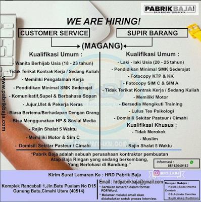 Loker Pabrik Baja Bandung