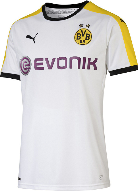 fa33f6314 Two stars above the Borussia Dortmund badge on the new Dortmund 15-16 Third  Shirt stand for the club s eight German league titles