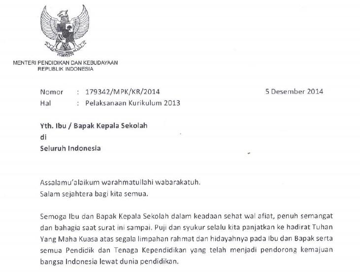 Surat Edaran Pelaksanaan Kurikulum 2013