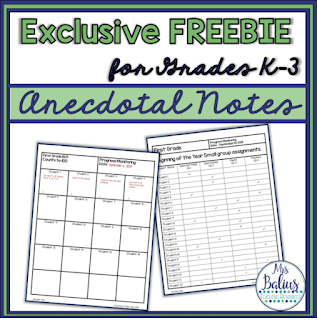 Free anecdotal notes resource for teachers to use in data tracking and informal assessments