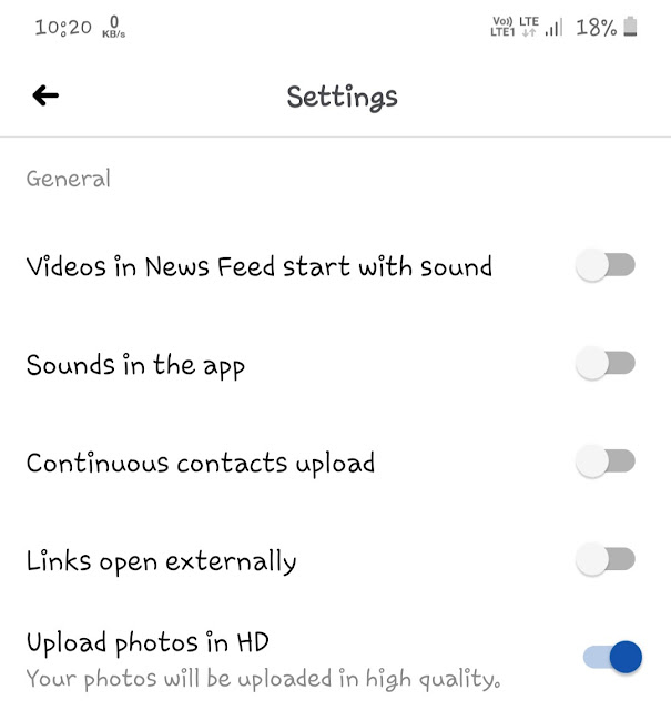 Turn off sounds in Facebook app