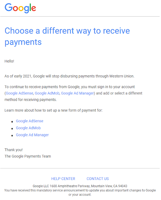 Email About Google Adsense Payment Being Discontinued in Western Union