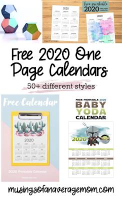 2020 one page calendar free printable