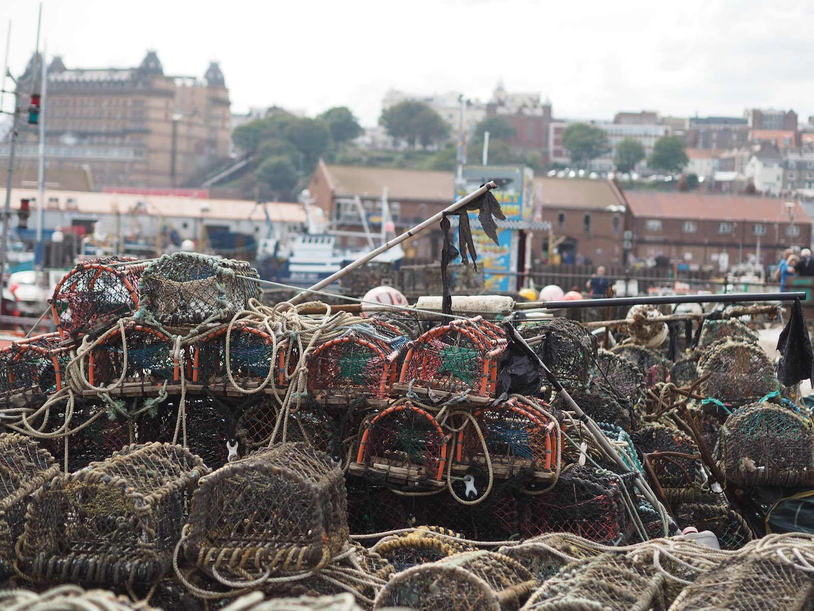 Lobster cages baskets fishing South Bay, Scarborough