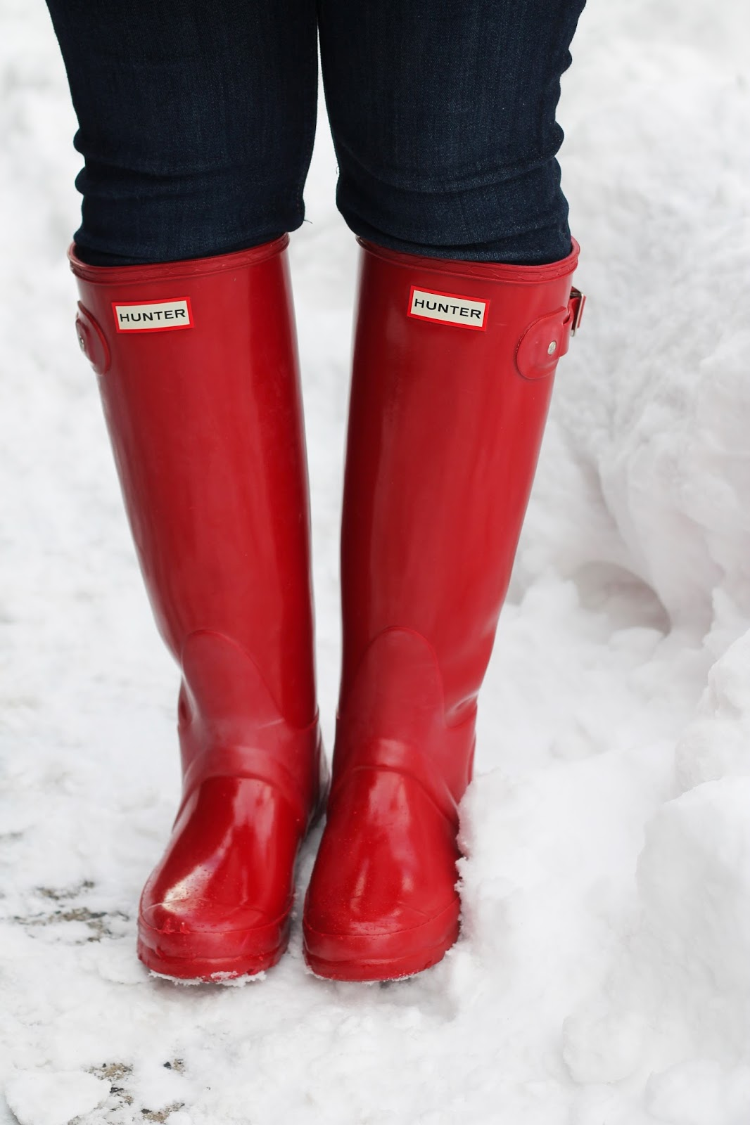 Navy Blue Toggle Coat And Red Hunter Rain Boots New