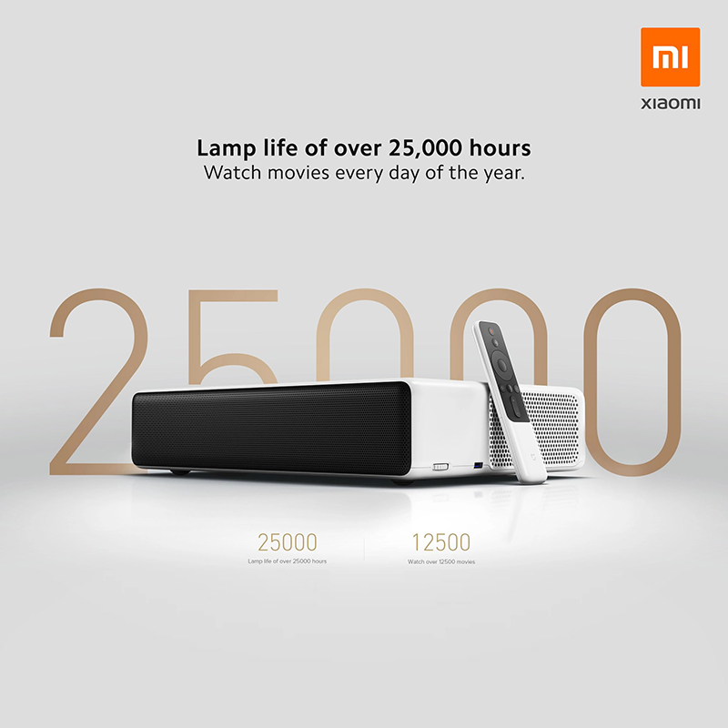 The Mi Laser Projector boasts a 25,000 hours lamp life which makes it applicable for everyday use