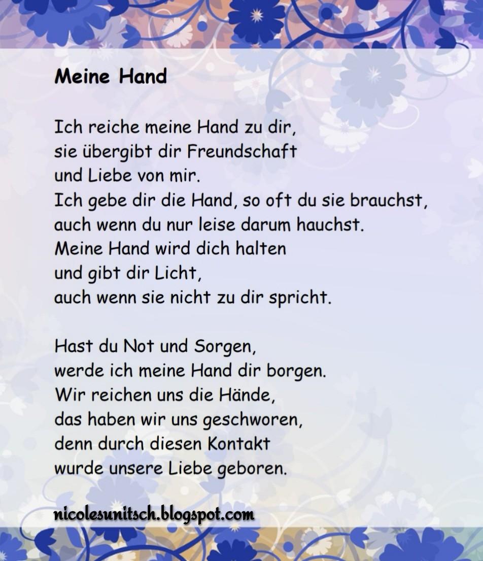 Hand leben gedicht in hand durchs Hand in
