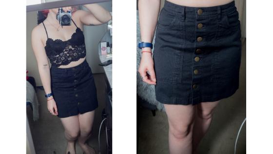 Černá džínový sukně a černý krajkový crop top