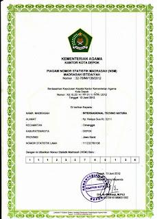 Contoh piagam NSM (Nomor Satistik Madrasah)