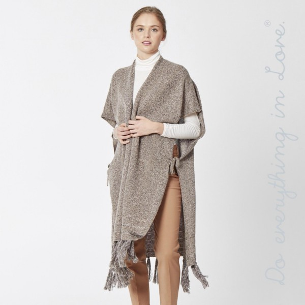 grey long cozy winter vest with fringe and side ties