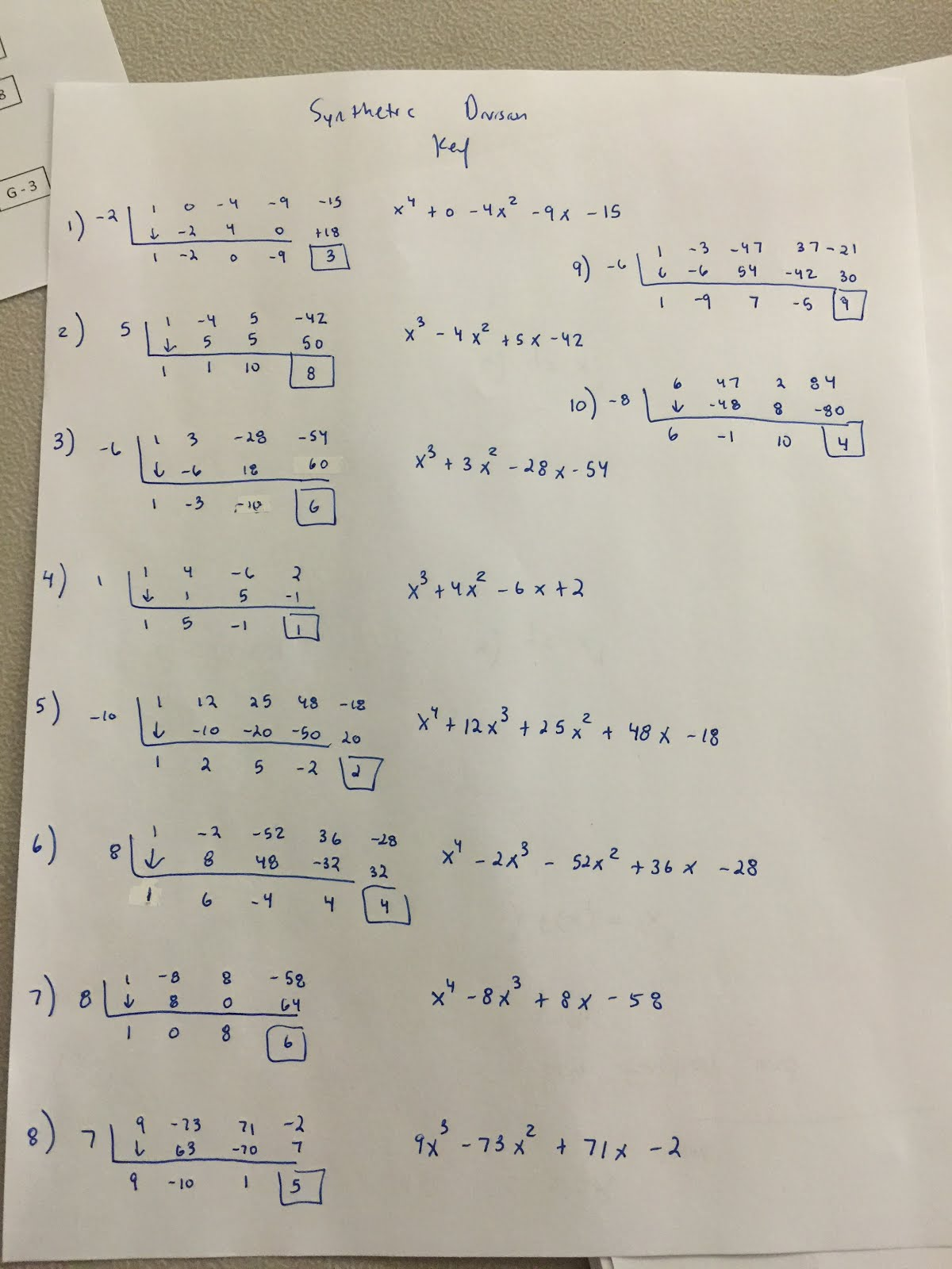 Honors Algebra Ii Synthetic Division Sudoku Answer Key