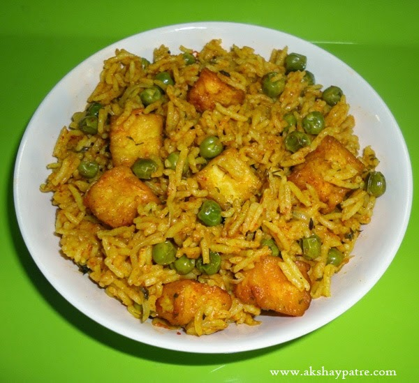 matar paneer pulao is ready to serve