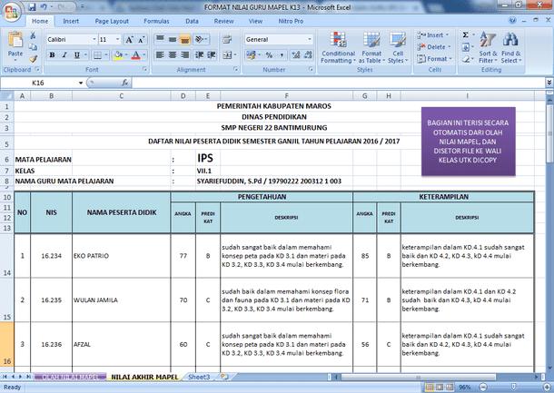 Contoh Format Nilai Guru Mata Pelajaran Kurikulum 2013