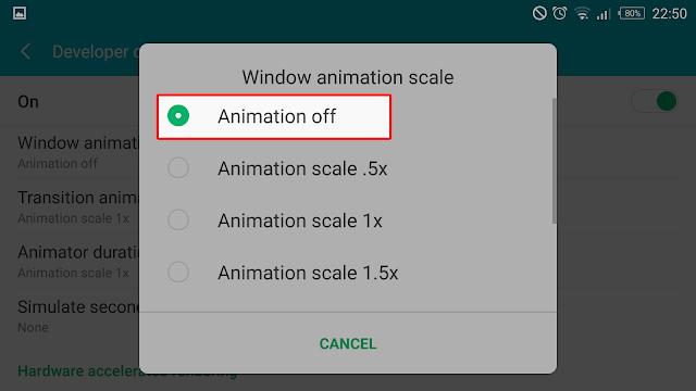 cara mempercepat android, cara mematikan animasi android
