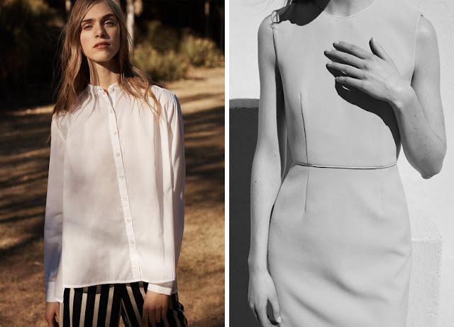 Рубашка из хлопка и приталенное платье из габардина