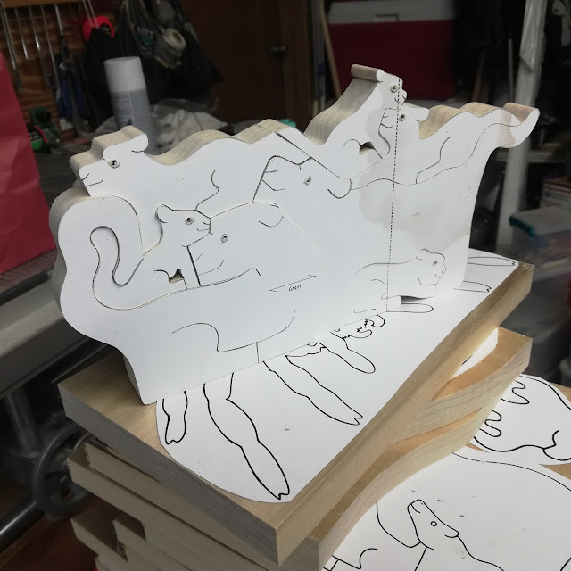Handmade Lion/Panther Family Stacking Puzzle In The Toymaker's Shop
