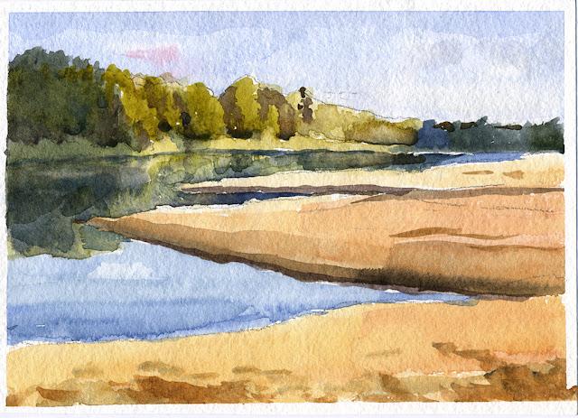 Река Ветлуга осенью. Песчаные косы. Акварель