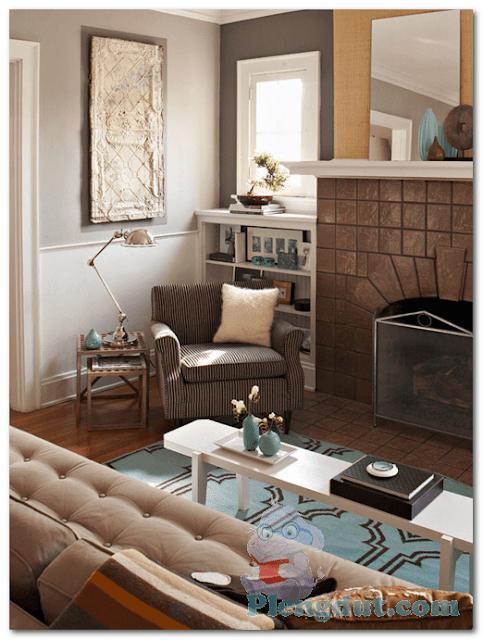 Ide 09: Tungku api untuk mengahangatkan ruangan disertai tekstur kreatif batu yang menempel menambah citarasa ruangan bergaya eropa masa lalu