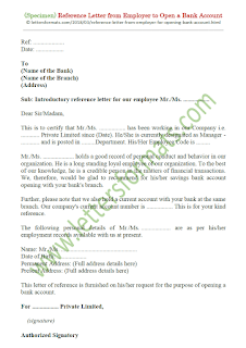 sample reference letter from employer for opening bank account