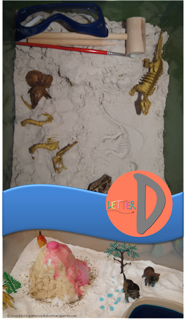 Letter D - Letter of the Week D is for dinosaur unit to help preschool, prek, and kindergarten age kids learn and explore dinosaurs, volcano, excavating dinosaur bones, measuring, fossils, and more.
