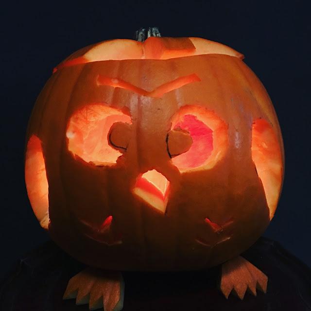 lit pumpkin halloween