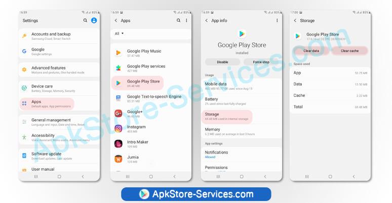 مسح ذاكرة التخزين المؤقت والبيانات لتطبيق متجر جوجل بلاي Google Play Store