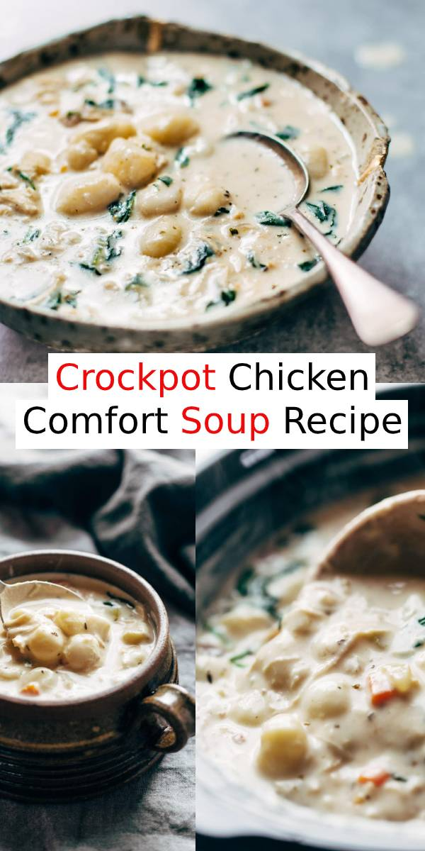 Crockpot Chicken Comfort Soup – easy, comforting, lots of vegetables, no heavy cream. Perfect with crusty bread and a green salad. #chicken #soup #crockpot #comfortfood #dinner