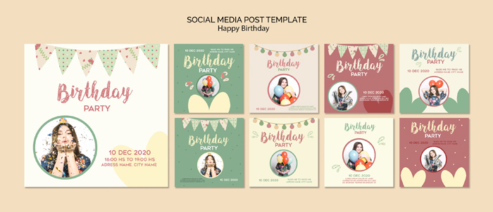 Birthday Party Social Media Posts Template With Photo
