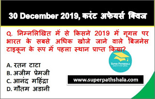 Daily Current Affairs Quiz in Hindi 30 December 2019
