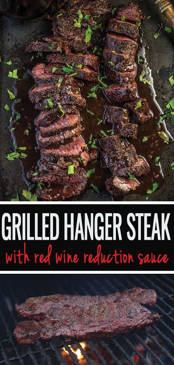 Grilled Hanger Steak with Red Wine Reduction Sauce