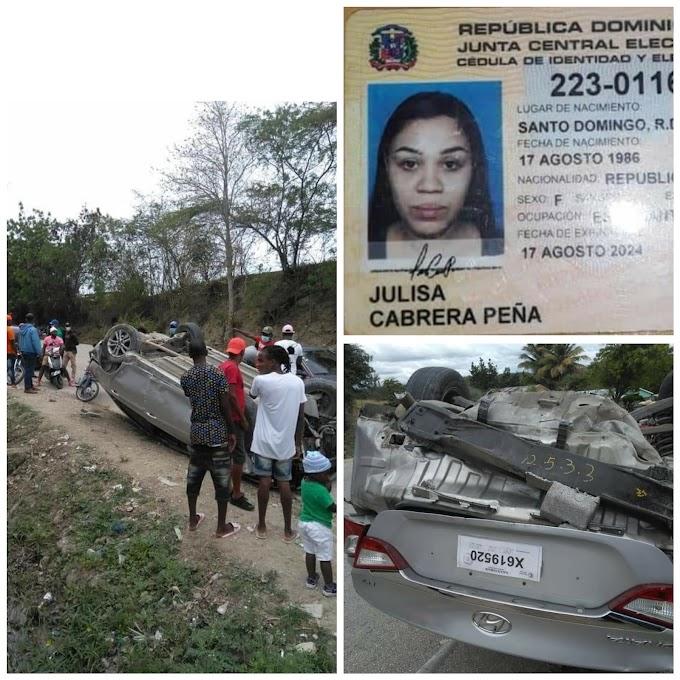 Una Joven Fallecida es el resultado de un  accidente de Transito en la carretera Las Matas - Elías piña