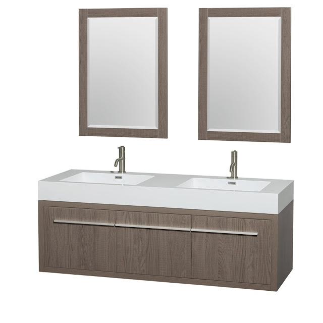 60 inch Wall Mounted Gray Oak Finish Bathroom Vanity Set