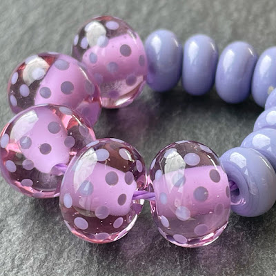 Handmade lampwork glass beads made with Creation is Messy Coming Up Roses